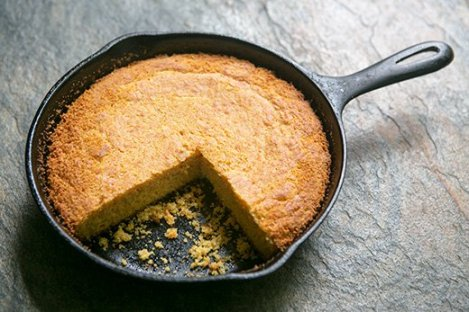 cornbread in iron skillet